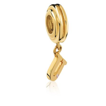 Diamond Set & 10kt Yellow Gold 'U' Charm