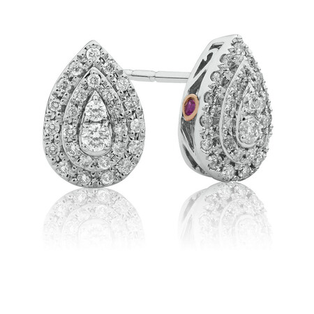 Sir Michael Hill Designer Fashion Earrings with 1/3 Carat TW of Diamonds in 10kt White Gold