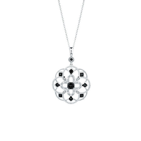 Online Exclusive - City Lights Pendant with 1/5 Carat TW of Enhanced Black Diamonds in Sterling Silver