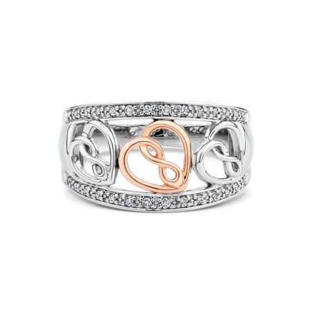 Infinitas Ring with 1/10 Carat TW of Diamonds in 10kt Rose Gold & Sterling Silver