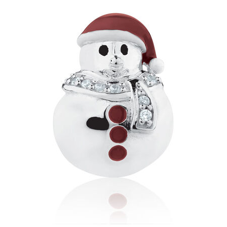 Snowman Charm with Red Enamel & Cubic Zirconia in Sterling Silver