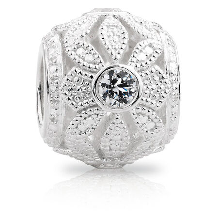 Cubic Zirconia & Sterling Silver Flower Art Deco Charm