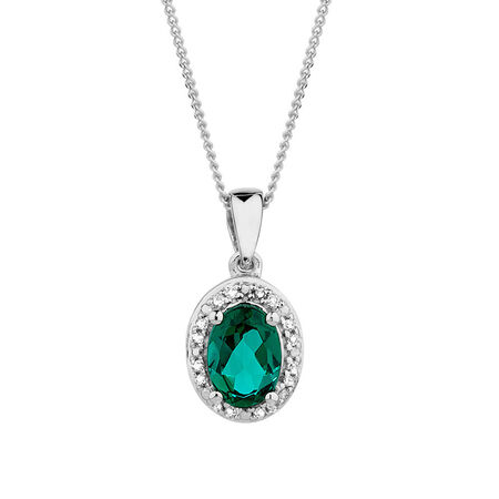 Pendant with Created Emerald & Diamonds in 10kt White Gold