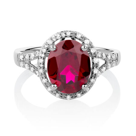 Online Exclusive - Ring with Created Ruby & 0.20 Carat TW of Diamonds in 10kt White Gold