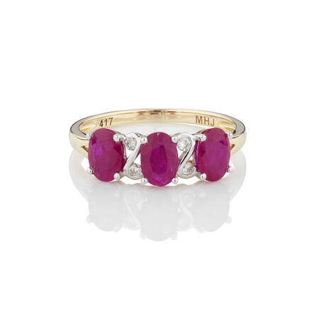 Three Stone Ring with Ruby & 1/20 Carat TW of Diamonds in 10kt Yellow Gold