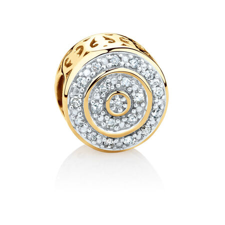 Round Charm with 1/4 Carat TW of Diamonds in 10kt Yellow Gold