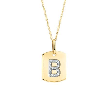 """B"" Initial Rectangular Pendant With Diamonds In 10ct Yellow Gold"