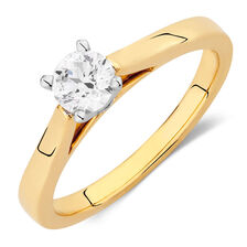 Online Exclusive - Certified Solitaire Engagement Ring with a 0.45 Carat Diamond in 14kt Yellow & White Gold
