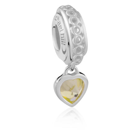 Sterling Silver August Heart Charm