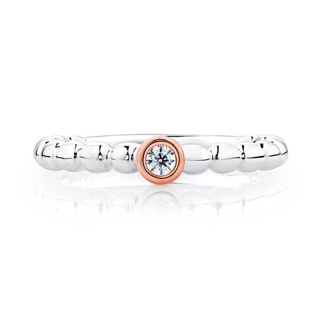 Cubic Zirconia, Sterling Silver & 10kt Rose Gold Stacker Ring
