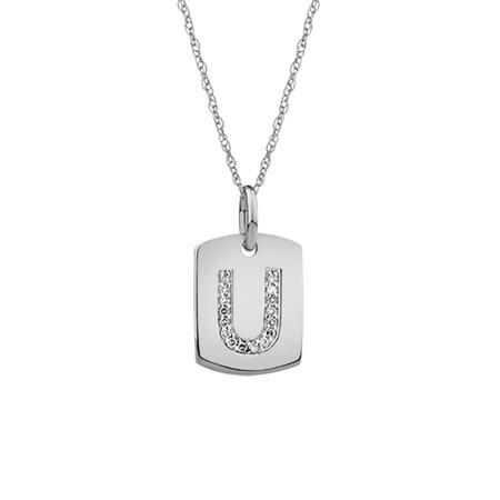 """U"" Initial Rectangular Pendant With Diamonds In 10ct White Gold"