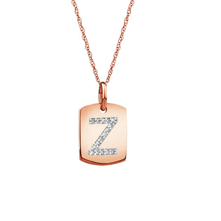 """""""Z"""" Initial Rectangular Pendant With Diamonds In 10ct Rose Gold"""