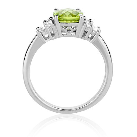 Ring with Peridot & Created White Sapphires in Sterling Silver