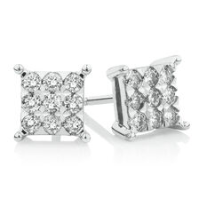 Square Stud Earrings with 1/2 Carat TW of Diamonds in 10kt White Gold