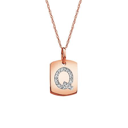 """""""Q"""" Initial Rectangular Pendant With Diamonds In 10ct Rose Gold"""
