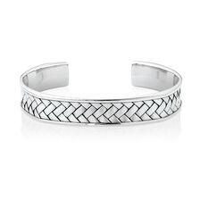 Weave Pattern Cuff Bracelet in 925 Sterling Silver