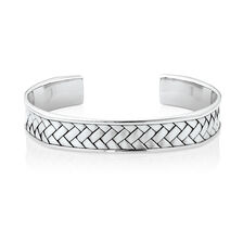 Weave Pattern Cuff Bracelet in 925 Sterling Silver