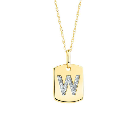 """W"" Initial Rectangular Pendant With Diamonds In 10ct Yellow Gold"