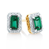 Stud Earrings with Created Emerald and 1/6 Carat TW of Diamonds in 10kt Yellow Gold