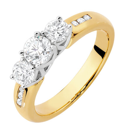 Evermore Engagement Ring with 1 Carat TW of Diamonds in 18kt Yellow & White Gold