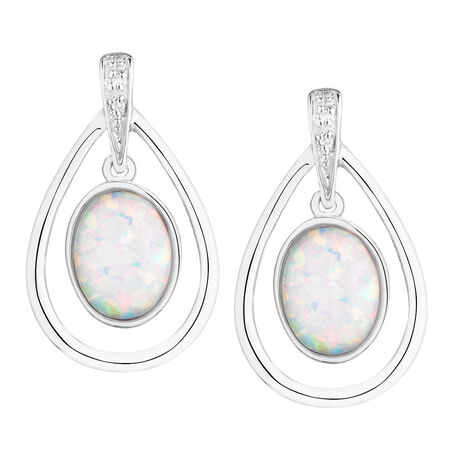 Drop Earrings with Created Opal & Diamonds in Sterling Silver