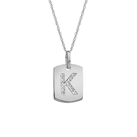 """K"" Initial Rectangular Pendant With Diamonds In 10ct White Gold"