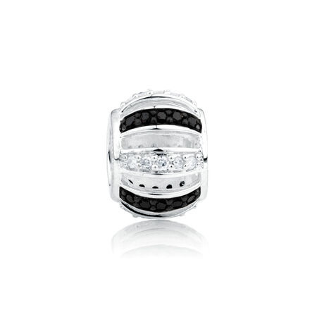 Online Exclusive - Charm with 1/6 Carat TW White & Enhanced Black Diamonds in Sterling Silver