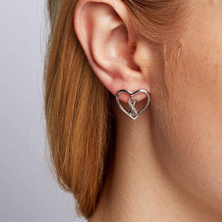 Infinitas Stud Earrings with 1/20 Carat TW of Diamonds in Sterling Silver
