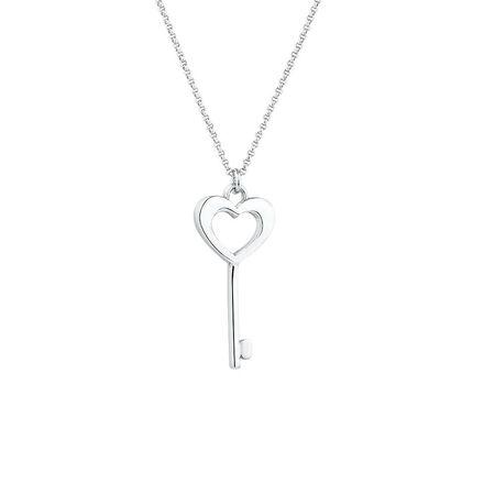 Heart Key Pendant in Sterling Silver