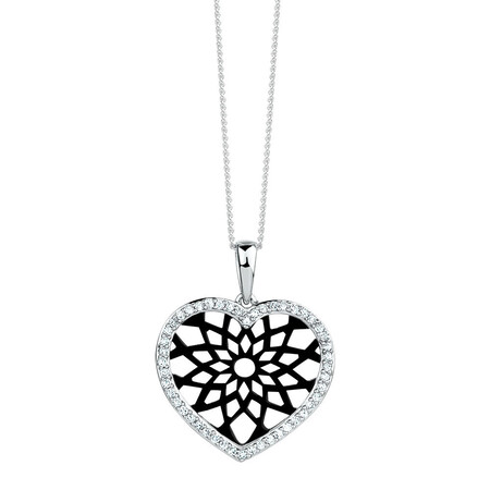 Online Exclusive - Heart Pendant with 0.20 Carat TW of Diamonds in 10kt White Gold
