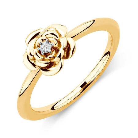 Diamond Set Flower Stacker Ring in 10kt Yellow Gold