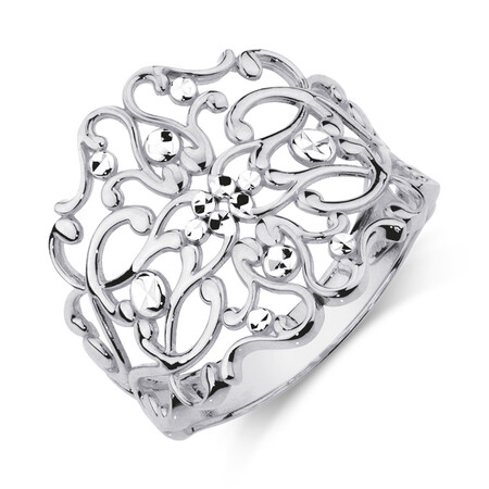 Filigree Ring in 10kt White Gold