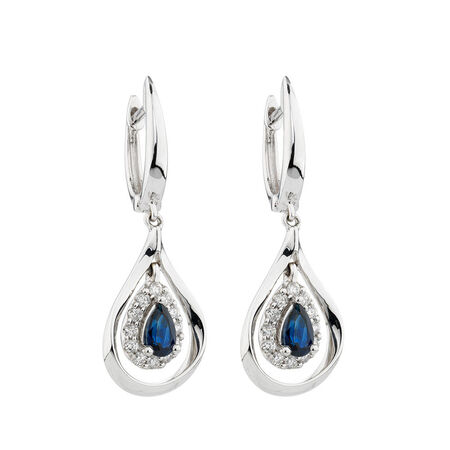 Online Exclusive - Earrings with Sapphire & Diamonds in 14kt White Gold