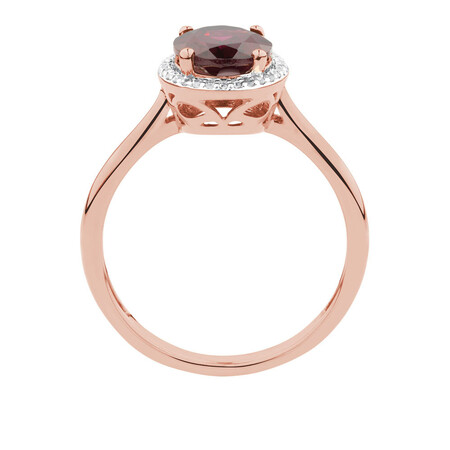 Ring with Rhodolite Garnet & Diamonds in 10kt Rose Gold