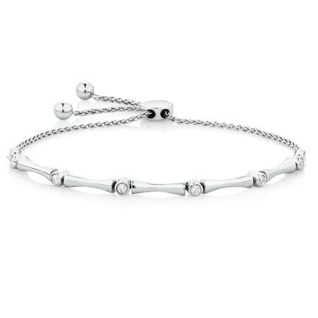 Adjustable Bracelet with 1/6 Carat TW of Diamonds in Sterling Silver