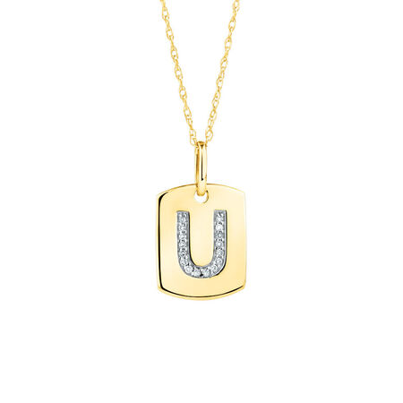 "U"" Initial Rectangular Pendant With Diamonds In 10kt Yellow Gold"