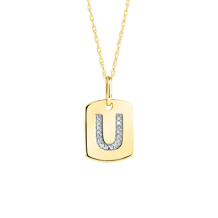 """U"" Initial Rectangular Pendant With Diamonds In 10ct Yellow Gold"