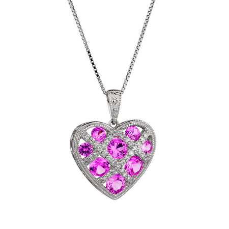 Online Exclusive - Pendant with Created Pink Sapphire & Diamonds in Sterling Silver