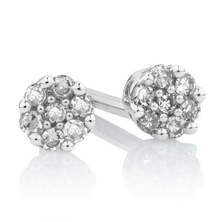 Cluster Stud Earrings with 1/20 Carat TW of Diamonds in 10kt White Gold