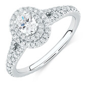 Sir Michael Hill Designer GrandArpeggio Engagement Ring with 0.87 Carat TW of Diamonds in 14kt White Gold