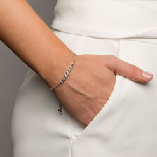 Adjustable Bracelet with 1/15 Carat TW of Diamonds in Sterling Silver