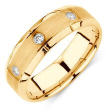 Men's Diamond Set Ring in 10kt Yellow Gold