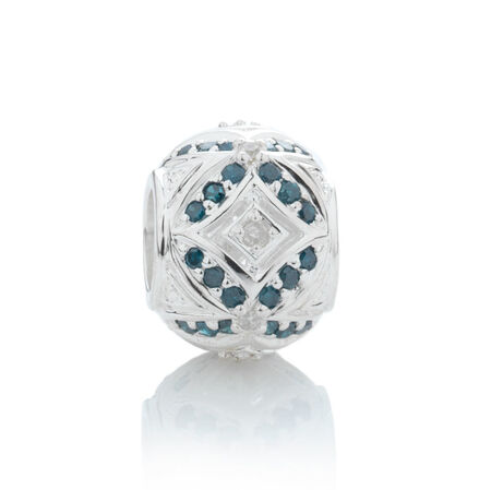 Online Exclusive - Charm with 1/4 Carat TW White & Enhanced Blue Diamonds in Sterling Silver