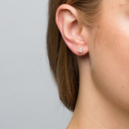 Stud Earrings with 0.46 Carat TW of Diamonds in 14ct White Gold