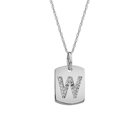 """""""W"""" Initial Rectangular Pendant With Diamonds In 10ct White Gold"""