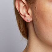 Cluster Stud Earrings with 1/10 Carat TW of Diamonds in 10kt White Gold