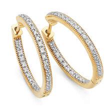 Hoop Earrings with 1/6 Carat TW of Diamonds in 10kt Yellow Gold
