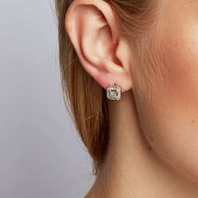 Stud Earrings With 1 2 Carat Tw Of Diamonds In 10kt White Gold