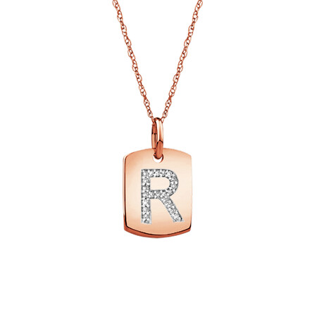 """R"" Initial Rectangular Pendant With Diamonds In 10ct Rose Gold"