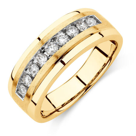 Men's Ring with 1/2 Carat TW of Diamonds in 10kt Yellow Gold